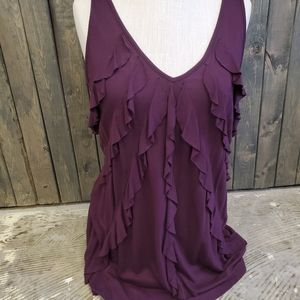 Express Ruffled Deep Purple Sleeveless Blouse